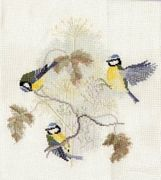 Derwentwater Designs Blue Tits and Seed Heads Cross Stitch Kit