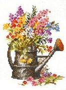 Pako Flowers in a Watering Can Floral Cross Stitch Kit