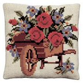 Pako Flowers in a Wheelbarrow Floral Cross Stitch Kit