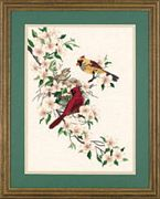 Dimensions Cardinals in Dogwood Embroidery Kit