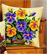 Vervaco Pansies Floral Cross Stitch Kit