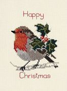 Derwentwater Designs Holly and Robin Christmas Card Making Cross Stitch Kit