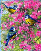 Royal Paris Bluetits in Blossoms Tapestry Canvas