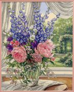 Dimensions Peonies and Delphiniums Floral Cross Stitch Kit