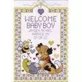 Janlynn Welcome Baby Boy Birth Sampler Cross Stitch Kit
