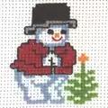 Permin Snowman and Tree Christmas Cross Stitch Kit