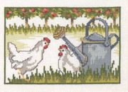 Permin Watering Can Chickens Cross Stitch Kit
