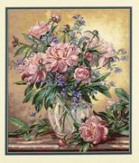 Dimensions Peonies and Canterbury Bells Floral Cross Stitch Kit