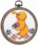Permin Chick and Butterfly Cross Stitch Kit