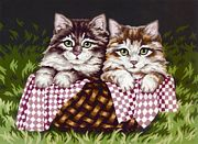 DMC Kittens in a Basket Tapestry Canvas