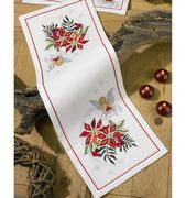 Permin Poinsetta and Angel Runner Christmas Cross Stitch Kit