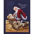 Janlynn Kneeling Santa Christmas Cross Stitch Kit