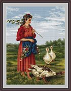 Luca-S Girl with Geese Cross Stitch Kit