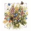 Lanarte Summer Bouquet - Evenweave Floral Cross Stitch Kit