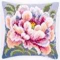 Vervaco Pink Peony Cushion Floral Cross Stitch Kit