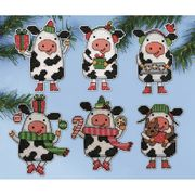 Design Works Crafts Christmas Cow Ornaments Cross Stitch Kit