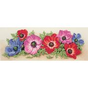 Anchor Spray of Anemones Floral Cross Stitch Kit