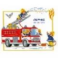 Vervaco Fire Engine Birth Record Birth Sampler Cross Stitch Kit