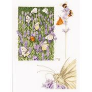 Lanarte Lavender and Butterfly - Aida Floral Cross Stitch Kit