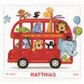 Vervaco Safari Bus Birth Record Birth Sampler Cross Stitch Kit