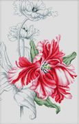 Luca-S Red Tulips Floral Cross Stitch Kit