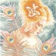 Lanarte Woman with Peacock Feathers Cross Stitch Kit