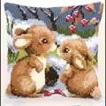 Vervaco Winter Rabbits Cushion Christmas Cross Stitch Kit