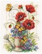 Vervaco Watering Can with Flowers Floral Cross Stitch Kit