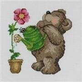 Permin Gardening Bear Cross Stitch Kit