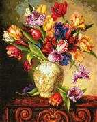 Dimensions Parrot Tulips Floral Cross Stitch Kit