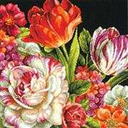 Dimensions Bouquet on Black Floral Tapestry Kit
