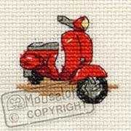 Mouseloft Red Scooter Cross Stitch Kit