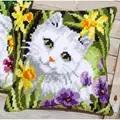Vervaco White Cat Cushion Cross Stitch Kit