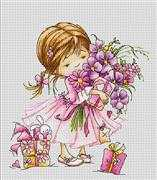 Luca-S Girl with Bouquet Cross Stitch Kit