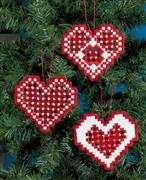 Permin Red Hardanger Hearts Embroidery Kit