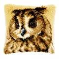 Vervaco Brown Owl Cushion Latch Hook Cushion Kit