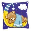 Vervaco Blue Teddy on Moon Cushion Cross Stitch Kit