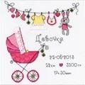 RIOLIS It's a Girl Birth Sampler Cross Stitch Kit