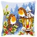Vervaco Robin and Lantern Cushion Christmas Cross Stitch Kit