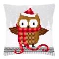 Vervaco Owl in Santa Hat Cushion Christmas Cross Stitch Kit
