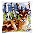 Vervaco Deer Family Cushion Christmas Cross Stitch Kit