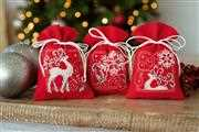 Vervaco Deer and Snowflakes Red Bags (Set of 3) Christmas Cross Stitch Kit