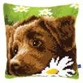 Vervaco Chocolate Labrador Cushion Cross Stitch Kit