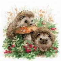 RIOLIS Hedgehogs in Lingonberries Cross Stitch Kit