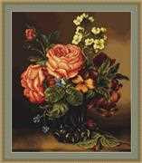Luca-S Vase of Roses and Flowers Cross Stitch Kit