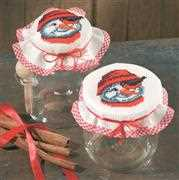 Permin Snowman and Robin Jar Toppers Christmas Cross Stitch Kit