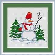 Luca-S Snowman with Twig Christmas Cross Stitch Kit