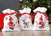 Vervaco Santa and Reindeer Bags - Set of 3 Christmas Cross Stitch Kit