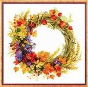 RIOLIS Wreath with Wheat Floral Cross Stitch Kit