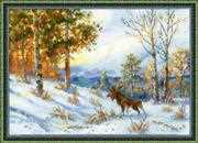 RIOLIS Elk in a Winter Forest Christmas Cross Stitch Kit